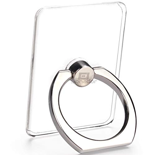 Transparent Phone Ring Stand Holder - EI Sonador Cell Phone Ring Holder Finger Grip 360 Degree Rotation (4 Silver)