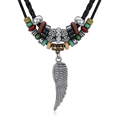 Vintage Style Charm Angel Wing Pendant Long Leather Rope Tribal Braided Lucky Diamond Necklace Min 24