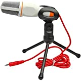 TEMO Stereoscopic Condenser Sound Microphone 3.5mm Studio with Stand for Audio Recording - White