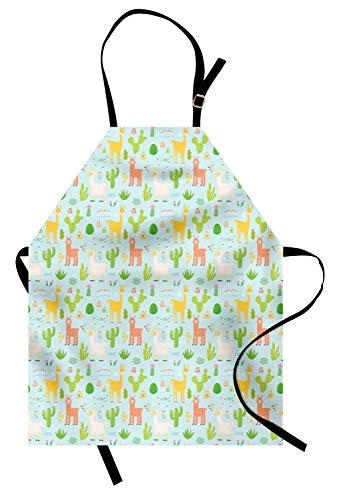 Ambesonne Llama Apron, Cute Camels Animals Doodle with Cactus and Tribal Geometric Kids Children Cartoon, Unisex Kitchen Bib Apron with Adjustable Neck for Cooking Baking Gardening, Multicolor ()