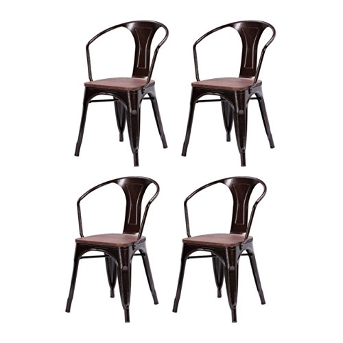 Modern Classic Style Metal Bar Stools Solid Steel Construction Comfortable Backrest Stackable Bistro Side Chair Home Office Furniture - Set of 4 Copper #1533 (Mi Burlington Holland)