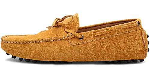Odema Mens Slip Sur Mocassins Penny Daim Mocassins Bateau De Conduite Chaussures Jaune
