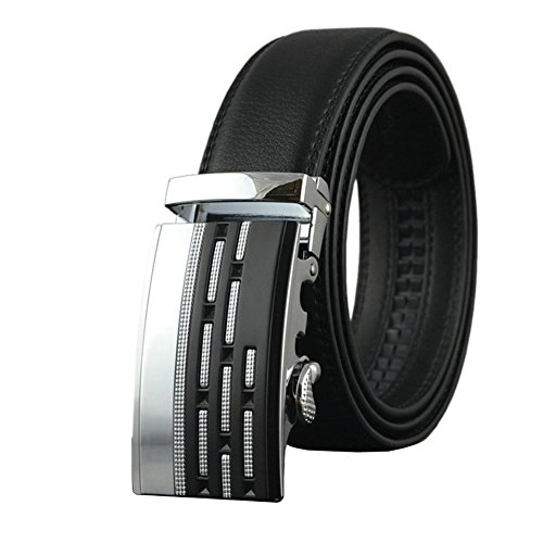 38''-54''Adjustable Leather Ratchet Belts for Men Automatic Buckle Black Brown Belt (140cm/Max waist 50'', Black 01) by Dan Cube