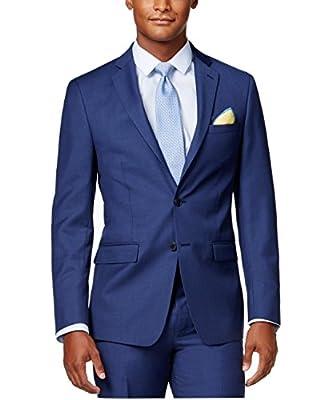 Calvin Klein Modern Fit Blue Textured Two Button New Men's Sport Coat