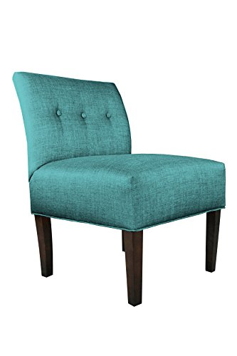 MJL Furniture Designs Key Largo Teal Samantha Upholstered Fabric Armless Tufted Decorative Accent Chair (Armless Chair Designer Fabric)