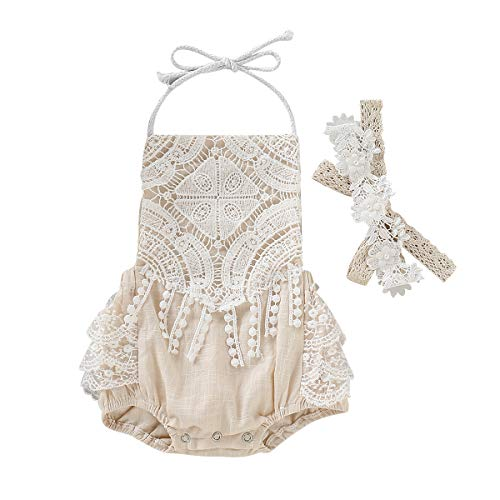Newborn Baby Girl Summer Clothes Halter Lace Blackless Romper Jumpsuit Bodysuit Outfit (Beige, 12-18 - Willow Lace