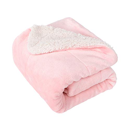 EMME Baby Blanket Fuzzy Sherpa Fleece Blankets Soft Warm Receiving Blankets for Toddler, Infant, Newborn, Boys and Girls Gift Reversible Cozy Blanket for Crib, Stroller, Nap, Outdoor, Decor (Pink)