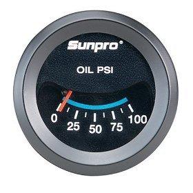 Sunpro CP7982 CustomLine Mechanical Oil Pressure Gauge - Black Dial