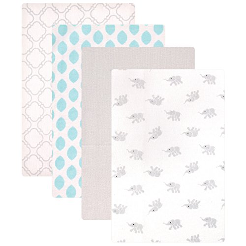 Luvable Friends Unisex Baby Cotton Flannel Receiving Blankets, Elephant 4-Pack, One Size