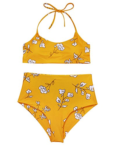 Verochic Women's Vintage Floral Print Push up High Waisted Bikini Set Bathing Suit (Yellow, Medium)