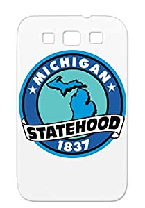 TPU Navy For Sumsang Galaxy S3 Michigan States Statehood State Seal Travel Cities Countries 2 Scratch-free Cover Case