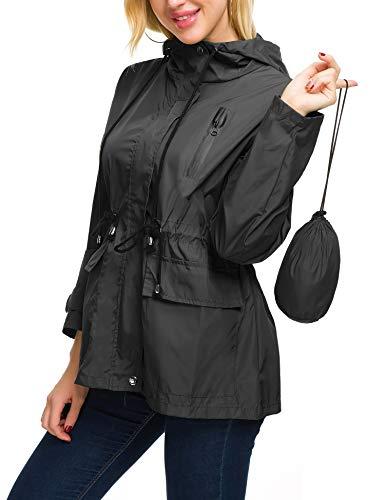 Anorak Rain Jacket Women Hooded Raincoat Light Rain Coat Windbreaker for Spring (Black M)