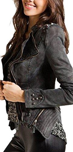 Lingswallow Women's Fashion Plus Size Slim Denim Military Jacket Coats XXL Black