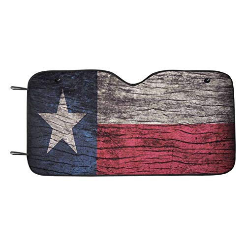 (INTERESTPRINT Texas Flag Pattern Wooden Board Car Windshield Sun Shade Sun Protector Blockers for SUV Truck)