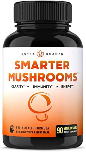 Mushroom Supplement – Lions Mane Cordyceps Complex with Reishi More – Immune System Booster Nootropic Brain Support Formula for Energy, Focus, Memory, Clarity Stress Relief – 90 Vegan Capsules