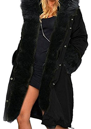 Negro BLACKMYTH Capa Parka Capucha Chaqueta Mujer Invierno Cálido Largo Outwear Pelo r6Tvrq
