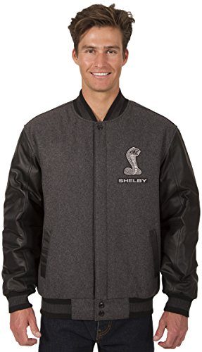 JH DESIGN GROUP Mens Shelby Cobra Wool & Leather Reversible Jacket With Embroidered Emblems (Medium, Charcoal Gray - Black) Xenon Cobra Design