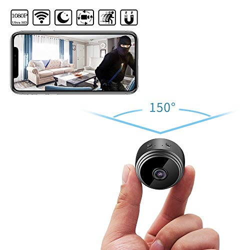 Spy Cameras, Latest HD 1080P WiFi Mini Hidden Cameras with 150° Wide Angle, Wireless Nanny Cam with Night Vision/Motion Detection/Loop Recording, Security Cameras for Indoor Home Security Monitoring