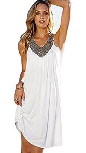 MiYang Women's V-Neck Hot Drilling Wrinkle Long Beach Dress