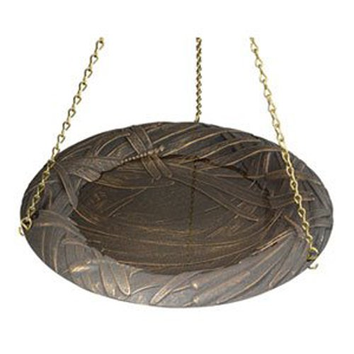 Whitehall Products Dragonfly Hanging Birdbath, Copper Verdi