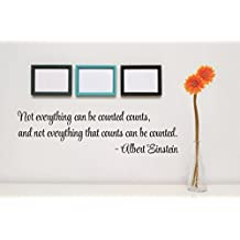 """Design with Vinyl RAD 67 1 Not Everything That Can Be Counted Counts, and Not Everything That Counts Can Be Counted. -Albert Einstein Quote Decor Wall Decal Sticker, 5 x 24"""", Black"""