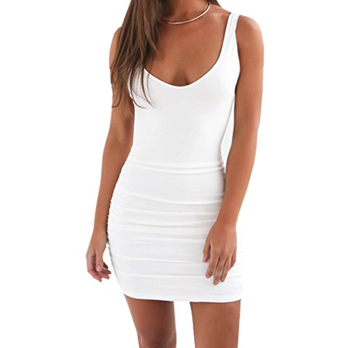 MOLFROA Women's Sexy Sleeveless Fold Low-cut Solid Color Backless Vest Summer Dresses (S,White)