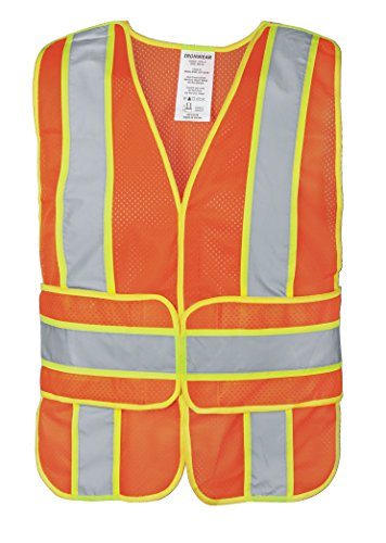 (Ironwear 1290FR-O-1-MD-XL ANSI Class 2 Flame Retardant Polyester Mesh Chevron SAFETY Vest with 2