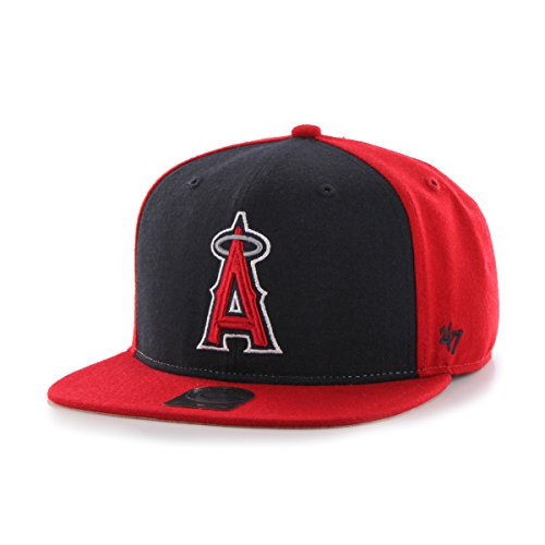 '47 MLB Los Angeles Angels Sure Shot Accent Captain Adjustable Snapback Hat, One Size, Red