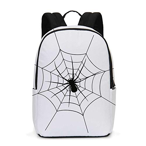 Spider Web Durable Backpack,Black Spooky Spider Weighs on a Web Creepy Crawly Organism Tangled Monochrome for School Travel,One_Size
