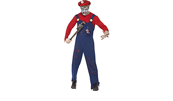 Mens Zombie Mario Plumber Costume Mario Bros Game Halloween Fancy Dress