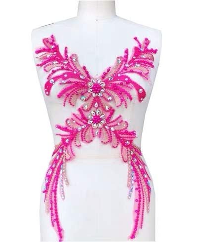 (Lace Applique 3D Beaded Embroidered Floral Rhinestone Trim Great for DIY Neckline Bodice Wedding Bridal Prom Dress A10 (A10 Hot Pink))