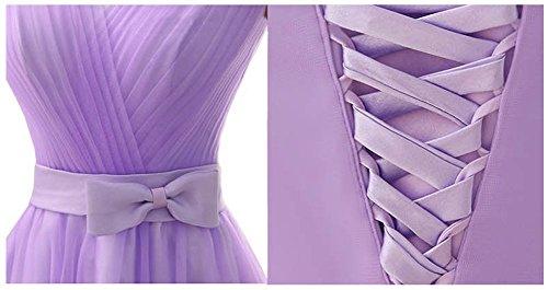Femmes Drasawee Mini-courte Robe De Demoiselle D'honneur Robes De Fête De Bal Junior Violet Pourpre D