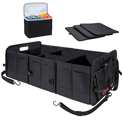 Autoark Multipurpose Car SUV Trunk Organizer with Removable Insulation Leakproof Cooler Bag,Durable Collapsible Adjustable Compartments Cargo Storage,AK-100
