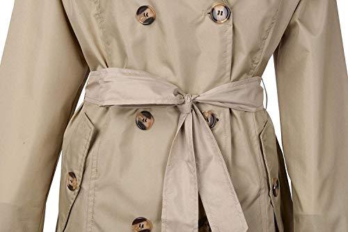 À De Carreaux Pluie coat Double Femmes Pour Trench Veste Imperméable Capuche Ceinture Jeune Avec Kaki Boutonnage Latéraux IXwFq4d