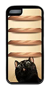 for iphone 6 plus 5.5 Case Curious Cat Wood Shelves179 TPU for iphone 6 plus 5.5 Case Cover Black