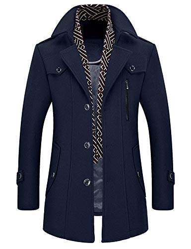 Idopy Men`s Wool Blend Jacket Notched Collar Pea Coat with Detachable Scarf Blue US L