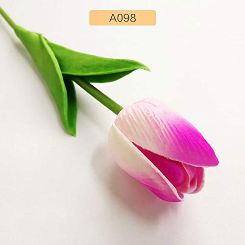 (Annibus Flower Tulip 1pc PU Tulip Artificial Flowers Mini Tulip Flower Real Touch Wedding 10 Colors Fake Flowers Tulips for Home Decoration)
