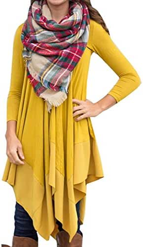 AMZ PLUS Women Irregular Hem Long Sleeve Loose Shirt Dress Top
