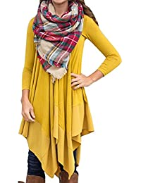 AMZ PLUS Women Irregular Hem Long Sleeve Loose Shirt...