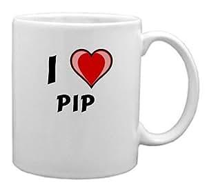 "Taza de cerámica con estampada de ""Te quiero"" Pip (nombre de pila/apellido/apodo)"