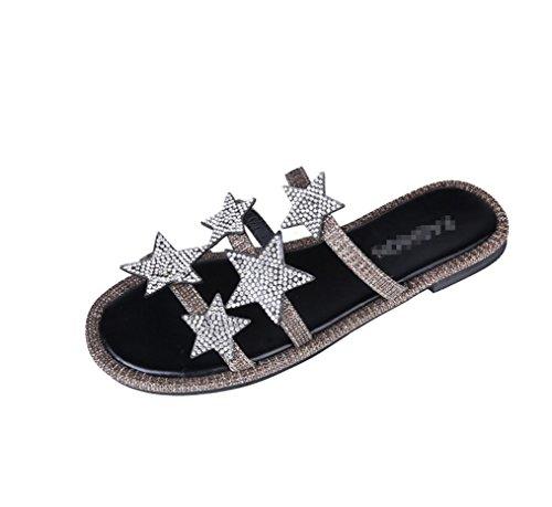 Color Plana Comfort Moda Pies Zhhzz Cool Toe Inferior Una Antideslizante Estrellas Slipper Stars Usando Con Fuera Las Diamond Nueva De Palabra cinco Clip Señoras Drag Caqui Liangxie La qxwF7gXZHW