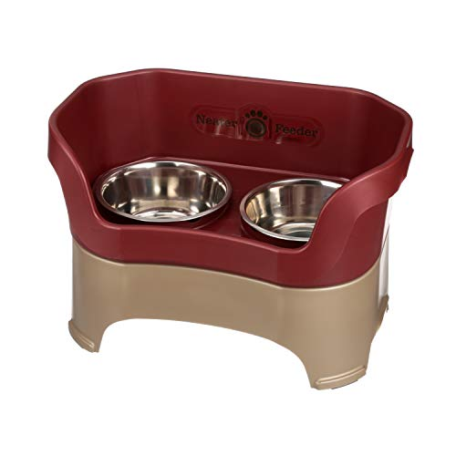 Deluxe Round Bowl - Neater Feeder Deluxe Large Dog (Cranberry) - The Mess Proof Elevated Bowls No Slip Non Tip Double Diner Stainless Steel Food Dish with Stand