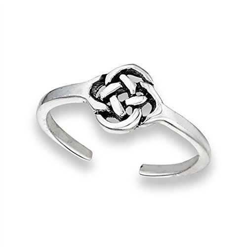 Knot Celtic Weave .925 Sterling Silver Tangled Midi Twisted Endless Braded Toe Ring Band