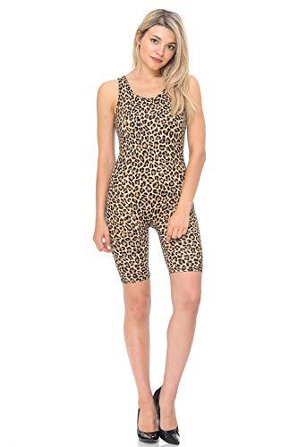 7Wins JJJ Women Catsuit Cotton Lycra Tank Bermuda Short Yoga Bodysuit Jumpsuit (Large, Z_Print4) -