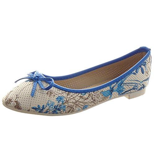 Sopily - Zapatillas de Moda Bailarinas decollete Tobillo mujer pajarita flores Talón Tacón ancho 1 CM - Azul