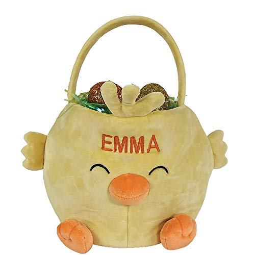 Chick Easter Basket - GiftsForYouNow Embroidered Chick Personalized Easter Basket, 10