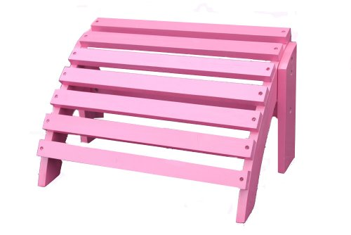 Painted Pink Cedar Wood Adirondack Ottoman Footstool (Insideout Patio Furniture)