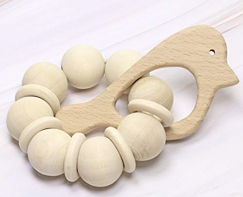 Penta Angel 10Pcs Baby Wood Teething Rings Pain Relief Natural Wood Teething Toys Wooden Teether Animals for Infant Toddler, Turtles Swallows Dolphins Starfish Pigeons Birds Woodpeckers Fish Turtle(A)