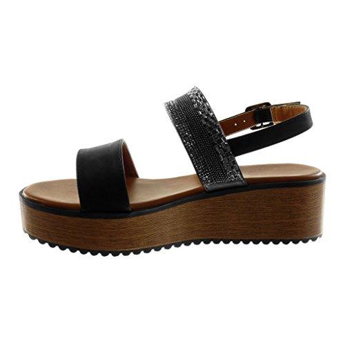 Angkorly Damen Schuhe Sandalen Mule - Knöchelriemen - Plateauschuhe - Schmuck - Strass - Wooden Keilabsatz High Heel 5 cm Schwarz