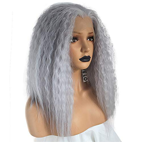 ZYC High Temperature Fiber Deep Peruca Cabelo Medium Water Wave Hair Wigs Purple Synthetic Lace Front Wig for Women Costume]()